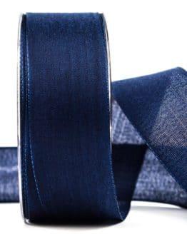 Geschenkband Leinen, marineblau, 40 mm breit - geschenkband-einfarbig, dekoband