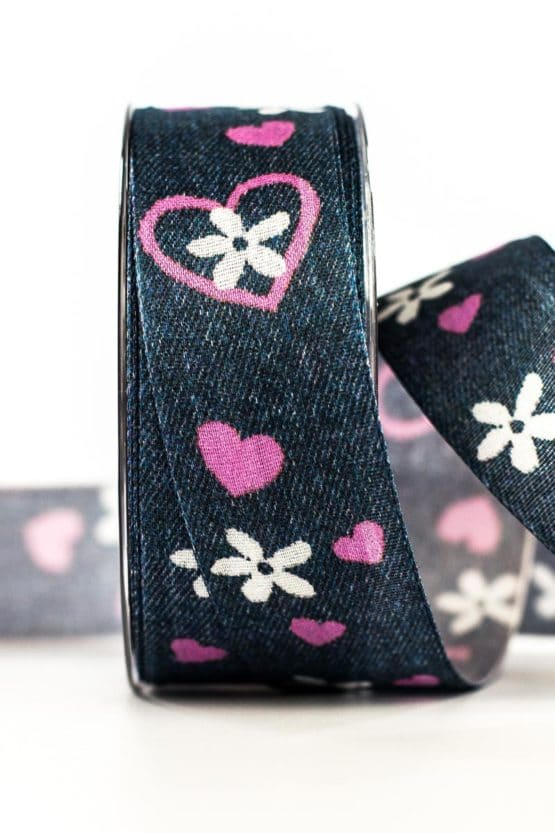 Dekoband Jeans, blau, 40 mm breit - geschenkband-gemustert, geschenkband, dekoband