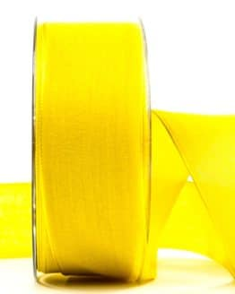 Geschenkband Leinen, gelb, 40 mm breit - geschenkband-einfarbig, dekoband