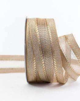 Elegantes Weihnachtsgeschenkband, gold, 40 mm breit - weihnachtsband, geschenkband-weihnachten-einfarbig, geschenkband-weihnachten