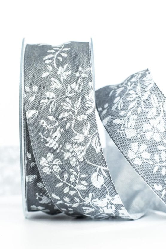 Changierendes Geschenkband Schmetterlinge, grau, 40 mm breit - geschenkband-gemustert, dekoband