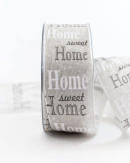 Home Sweet Home Geschenkband, grau, 40 mm breit - geschenkband-gemustert, dekoband