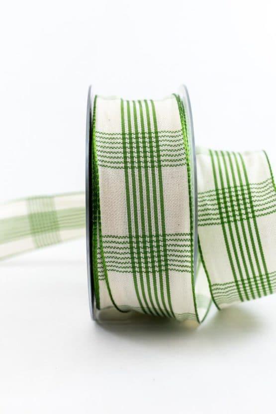 Kariertes Geschenkband, grün, 40 mm breit - karoband, karierte-baender, geschenkband-kariert