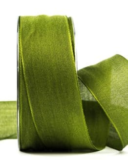 Geschenkband Leinen, moosgrün, 40 mm breit - geschenkband-einfarbig, dekoband