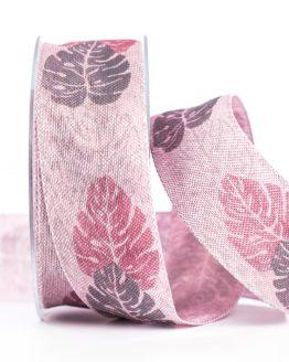 Changierendes Schleifenband Blätter, rosa, 40 mm breit - geschenkband-gemustert, dekoband