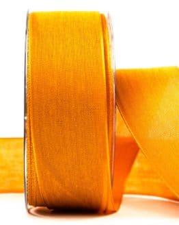 Geschenkband Leinen, orange, 40 mm breit - geschenkband-einfarbig, dekoband