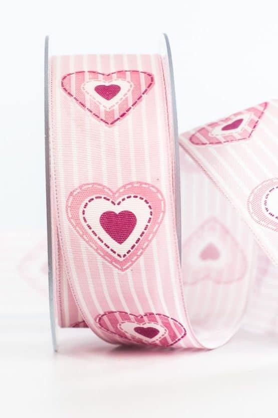 Geschenkband Herz, rosa, 40 mm breit - valentinstag, muttertag, geschenkband-mit-herzen