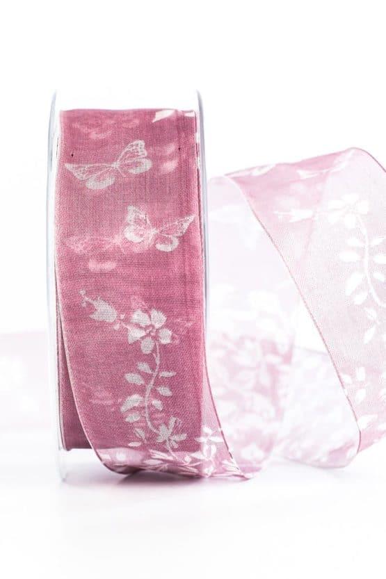 Organzaband Schmetterlinge, rosa, 40 mm breit - organzaband-gemustert