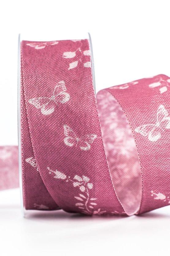 Changierendes Geschenkband Schmetterlinge, rosa, 40 mm breit - geschenkband-gemustert, dekoband