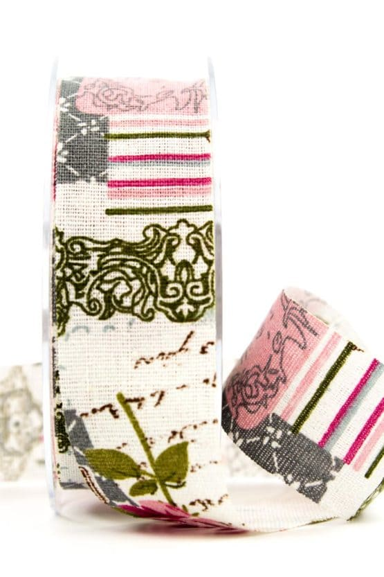 Leinenband Romantique, 40 mm breit - geschenkband-gemustert, geschenkband, dekoband