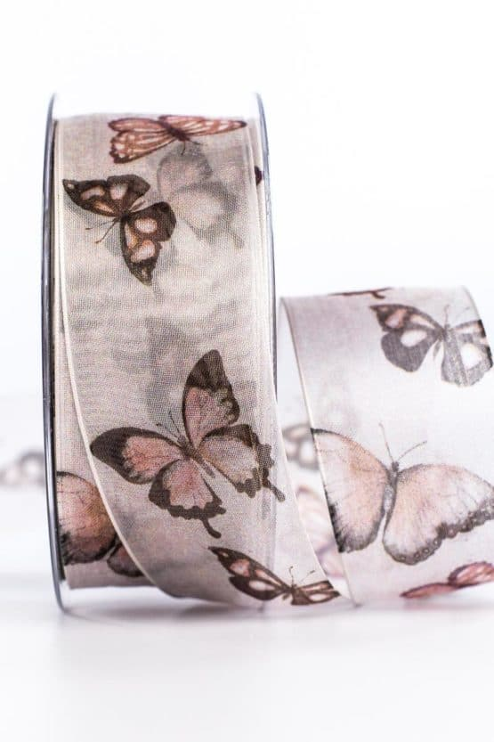 Organzaband Schmetterlinge, rosa, 40 mm breit - organzaband-gemustert, organzaband, geschenkband-gemustert, geschenkband