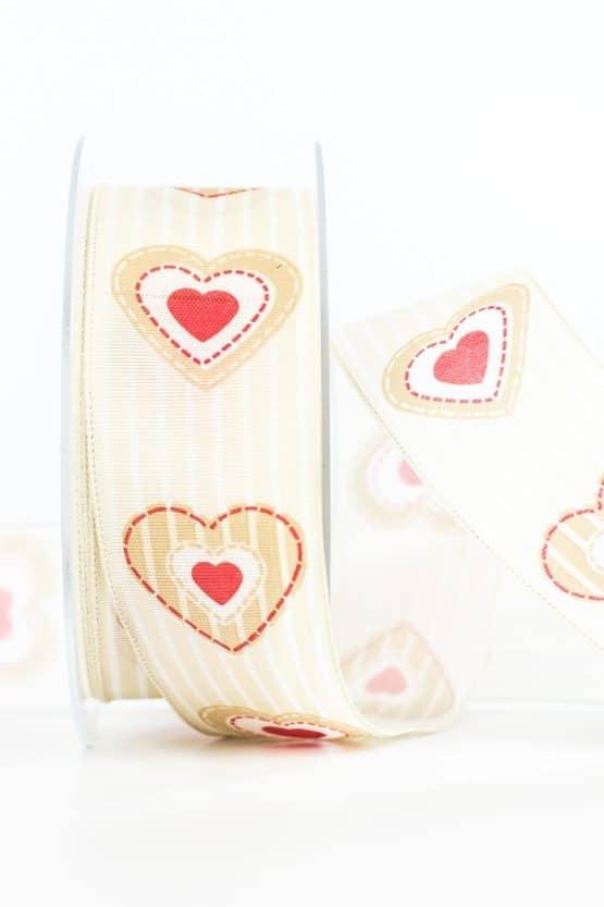 Geschenkband Herz, beige, 40 mm breit - valentinstag, muttertag, geschenkband-mit-herzen