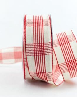 Kariertes Geschenkband, rot, 40 mm breit - karoband, karierte-baender, geschenkband-kariert