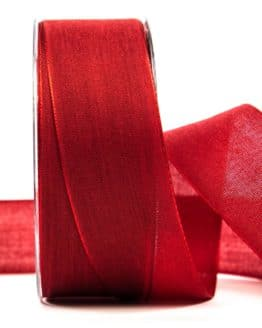 Geschenkband Leinen, rot, 40 mm breit - geschenkband-einfarbig, dekoband