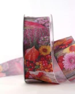 Herbstliches Geschenkband, 40 mm breit - geschenkband-gemustert, dekoband