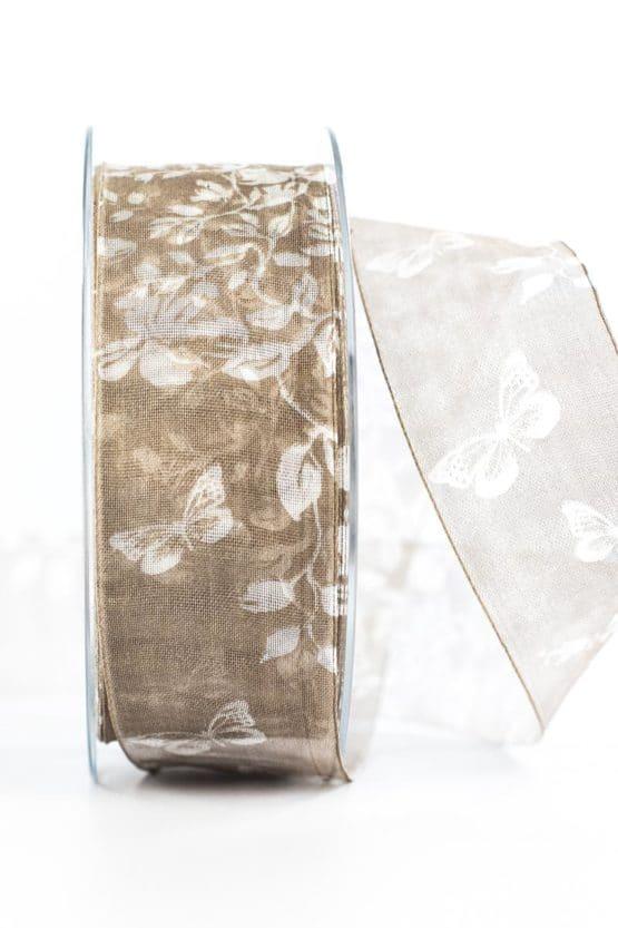 Organzaband Schmetterlinge, braun, 40 mm breit - organzaband-gemustert