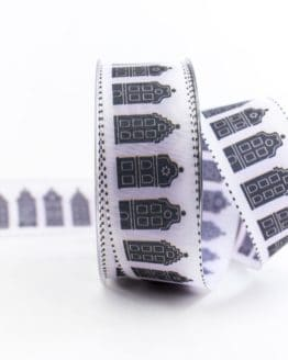Geschenkband Häuser, schwarz-weiß, 40 mm breit - geschenkband-gemustert, dekoband