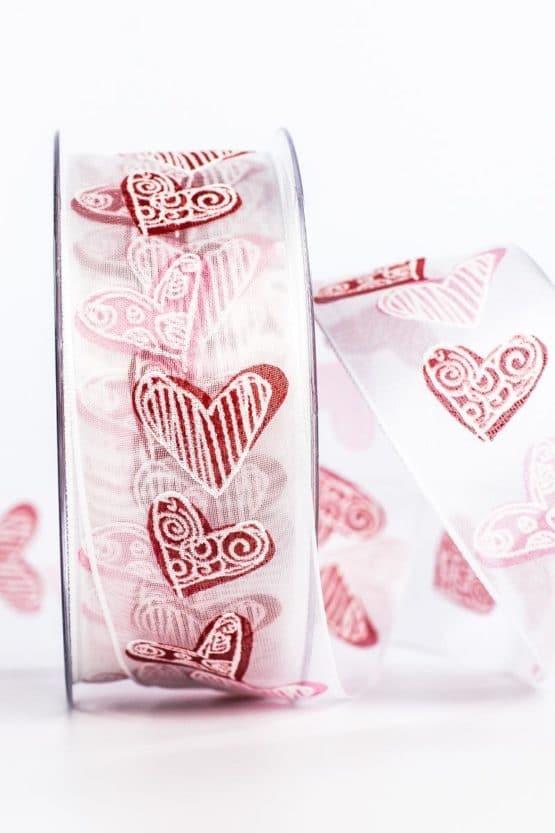 Organzaband mit roten Herzen, weiß, 40 mm breit - valentinstag, organzaband-gemustert, organzaband, muttertag, geschenkband-mit-herzen, geschenkband-gemustert, geschenkband-fuer-anlaesse, geschenkband, anlaesse