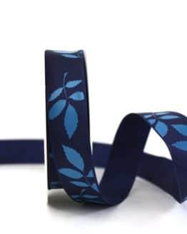 Geschenkband Blätter, blau, 25 mm breit - geschenkband-gemustert, dekoband