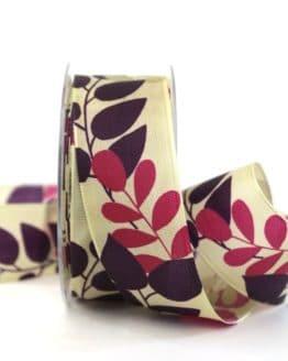 Geschenkband Blätter, lila, 40 mm breit - geschenkband-gemustert, dekoband