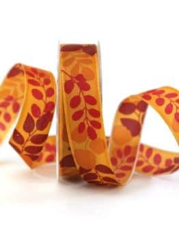 Geschenkband Blätter, orange, 25 mm breit - geschenkband-gemustert, dekoband