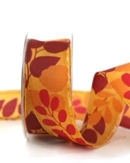 Geschenkband Blätter, orange, 40 mm breit - geschenkband-gemustert, dekoband