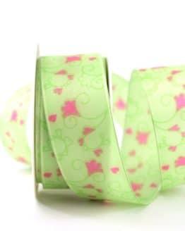 Geschenkband Blütenranke, grün, 40 mm breit - geschenkband-gemustert, dekoband