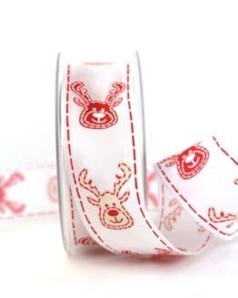 Geschenkband Elch, rot-weiß, 40 mm breit - weihnachtsband, geschenkband-weihnachten-gemustert, geschenkband-weihnachten