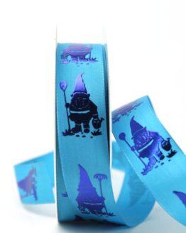 Dekoband Gartenzwerg blau, 25 mm breit - dekoband-mit-drahtkante-dekoband