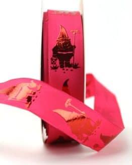 Dekoband Gartenzwerg pink, 25 mm breit - dekoband-mit-drahtkante-dekoband