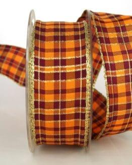 Karoband terra-orange-bordeaux , 40 mm breit, Weihnachtsband - weihnachtsband