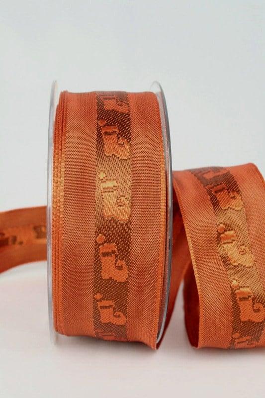 Dekoband für Weihnachten, terra-braun mit Nikolausstiefel, 40 mm breit - weihnachtsband