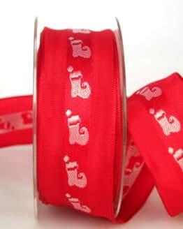 Dekoband für Weihnachten, rot-weiß mit Nikolausstiefel, 40 mm breit - weihnachtsband