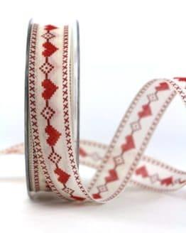 Geschenkband m. Herz, rot, 25 mm breit - valentinstag, muttertag