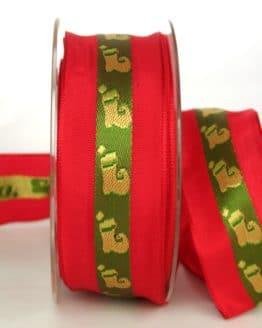 Dekorationsband für Weihnachten, rot-grün mit Nikolausstiefel, 40 mm breit - weihnachtsband