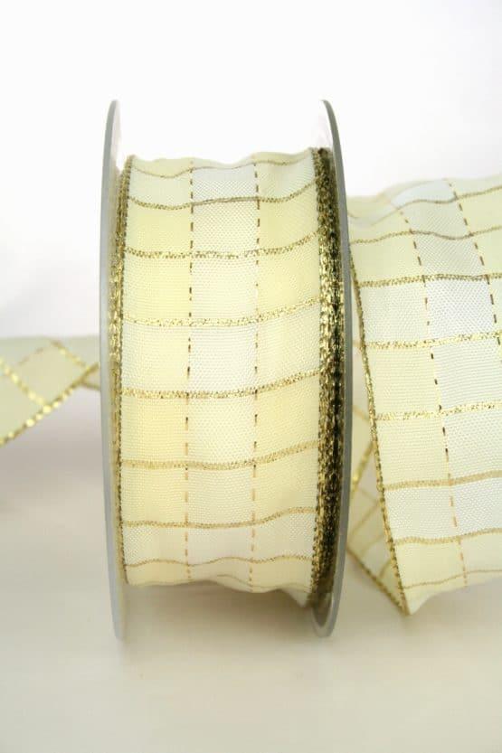 Weihnachts-Karoband creme-gold, 40 mm breit - weihnachtsband
