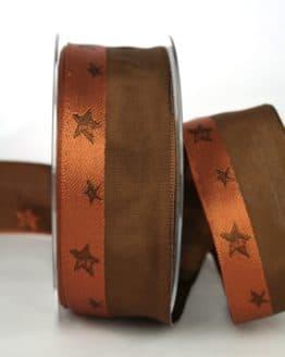 Exklusives Dekoband für Weihnachten, braun/terra mit Sternen, 40 mm breit - weihnachtsband