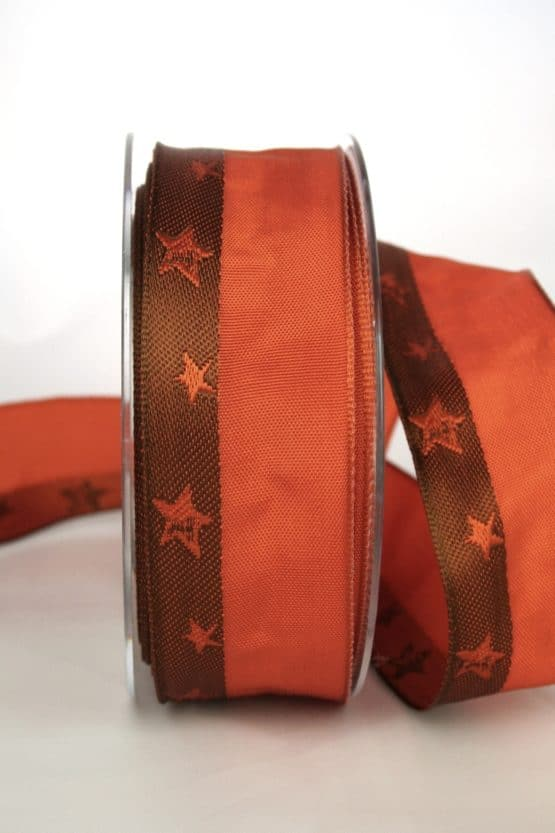 Exklusives Dekoband für Weihnachten, terra/braun mit Sternen, 40 mm breit - weihnachtsband