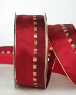 Geschenkband, 40 mm breit, rot-gold - webkante, sonderangebot, geschenkband-weihnachten