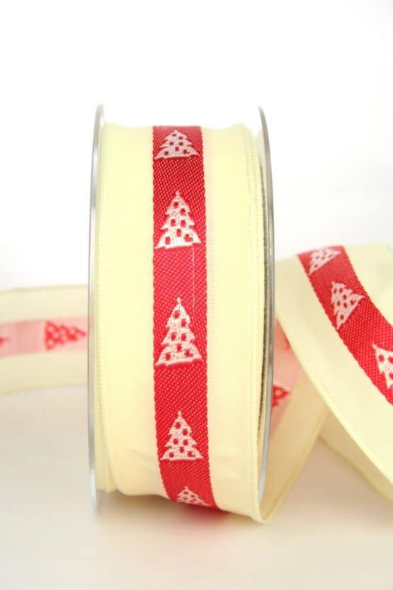 Ausgefallenes Dekoband für Weihnachten, creme/rot/weiß mit Tannenbäumen, 40 mm breit - weihnachtsband