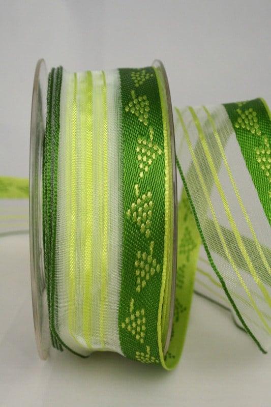 Dekoband mit Weinreben, grün, 40 mm mit Drahtkante - dekoband-mit-drahtkante-dekoband