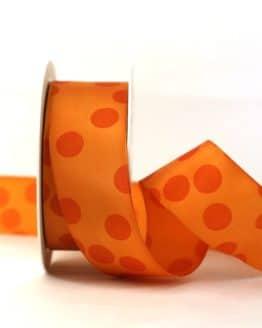 Geschenkband mit Punkten, orange, 40 mm breit - geschenkband-gemustert, dekoband