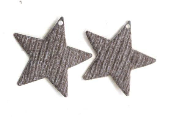 Geschenkanhänger Stern braun-creme, aus Stoff, 20 Stück Beutel - geschenkanhaenger, accessoires