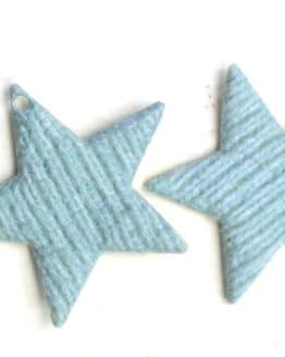 Geschenkanhänger Stern türkis-creme, aus Stoff, 20 Stück Beutel - geschenkanhaenger, accessoires