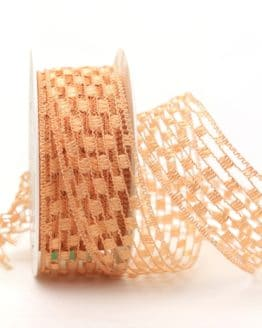 Gitterband lachs, 40 mm breit - gitterband, dekoband-mit-drahtkante-dekoband, 50-rabatt