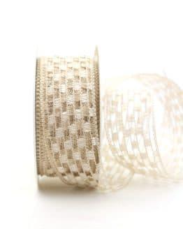 Gitterband creme, 40 mm breit - gitterband, dekoband-mit-drahtkante-dekoband, 50-rabatt