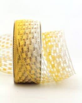 Gitterband mehrfarbig gelb, 40 mm breit - gitterband, dekoband-mit-drahtkante-dekoband, 30-rabatt