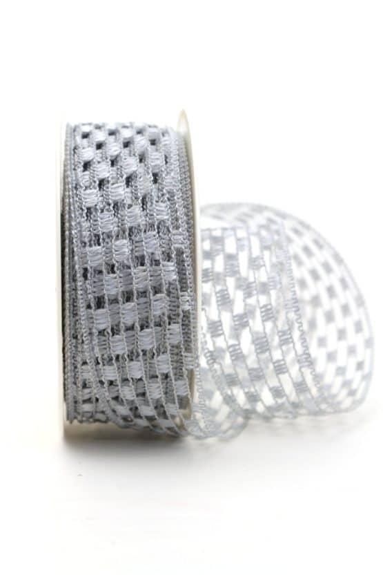 Gitterband silbergrau, 40 mm breit - gitterband, dekoband-mit-drahtkante-dekoband, 50-rabatt
