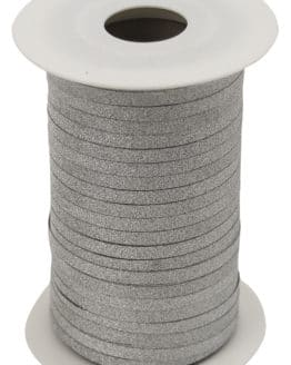 Glamour Glitzer-Kräuselband, silber, 5 mm breit - polyband