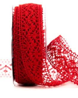 Häkelspitze, rot, 38 mm breit - spitzenbaender